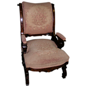 Fine Comfortable Aesthetic Movement Arm Chair Eastlake Walnut