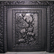 "SOLD Late Victorian Cast Iron Fireplace Insert ""Summer Cover"""