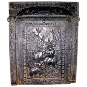 "SALE PENDING Cast Iron ""Summer Cover"" Fireplace Insert With Deer"