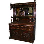 Monumental American Victorian Sideboard In Walnut