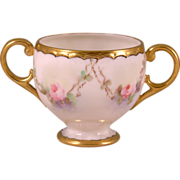 American Belleek Hand Painted Double Handled Cup
