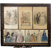 Unusual Set Of 1846 French Fashion Illustrations In A Fine Aesthetic Movement Frame