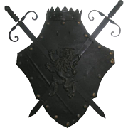 SALE PENDING Fireplace Wall Hanging Medieval Shield and Swords