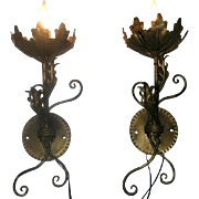 Unusual Pair of Vintage Gilt Metal Sconces