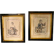 "Pair Antique Lithographs ""Autumn"" & ""Winter"" Sarony & Major NY"