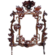 Heavily Carved Rococo Walnut Standing Mirror