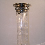 American Brilliant Cut Glass & Sterling Tall Vase