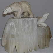 Art Deco Polar Bear Lamp In Alabaster