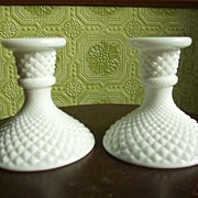 Diamond Point Milk Glass Candle Holders