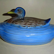 Gorgeous Blues 'PV' Czechoslovakian  Porcelain Covered Dish