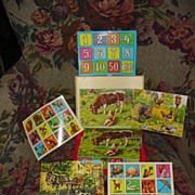 West  German Wood Block Puzzles in Box