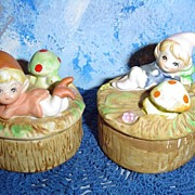 Homco Pixie Elf Round Trinket Box