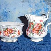 Royal Albert 'Centennial Rose' set of Creamer and Sugar