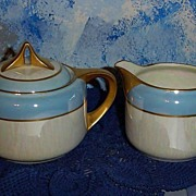 Blue/White Luster Set of Creamer and Sugar Dish