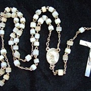 1950's  Catholic Rosary Pearly White Glass Beads