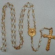 Catholic  Rosary Gold / White Sacred Heart Medal