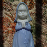 SALE Vintage Blue Praying  Roman Catholic Nun