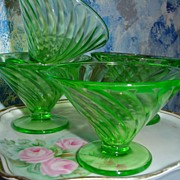 Uranium Glass set of Cups/Dessert Dishes Swirl Pattern