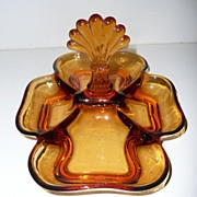 Amber Glass Divided Tray Dish