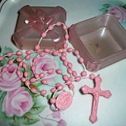 Vintage  Italian Baby Prayers Pink  Rosary in Pink Box