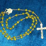 "Unusual  19"" Yellow Glass Color Beads Roman Catholic Rosary"