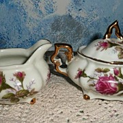 SOLD Moss Rose Pattern Set of Creamer and Sugar with Lid