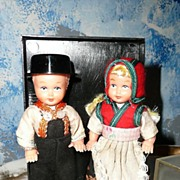 Pair of NORWEGIAN Celluloid Dolls in Box