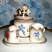 HUMMEL  'Mascot of Germany' Set of Salt and Pepper Shakers with Plate and Mustard Dish