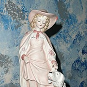Gorgeous Bisque Pink  Girl Figurine with Dog by Andrea