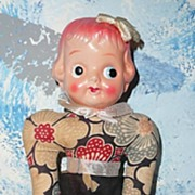 Vintage Celluloid  Head Doll Cloth Body