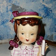 SALE Cute  Little Girl  Flower  NASCO Head Vase