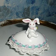SOLD 'Fitz and Floyd' Easter Bunny Bone China Egg Box