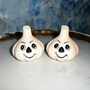 Happy  White Onion Set of Salt and Pepper Shakers