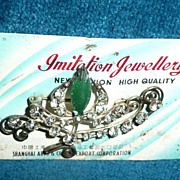 Vintage Rhinestones and Emerald Stone Pin *New on card
