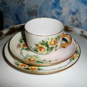 Gorgeous C.T. Tielsch & Co. German Yellow Roses Porcelain Cup Set