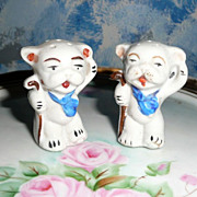 Vintage Happy Dogs with Cane  Set of Shakers