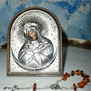 SOLD Beautiful Our Lady at The Gates of Dawn, Mother of Mercy Image  Frame and Rosary. Vilnius