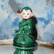 Cute Christmas Pixie Elf on Mushroom