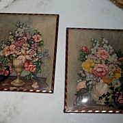 Pair of  Vintage Pictures of Flowers
