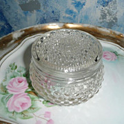 Vintage Pressed Glass  Powder Box Box with Lid