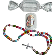 1980's Mini Our Lady of Lourdes Colored Rosary with Box