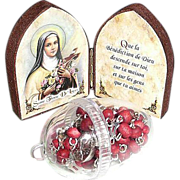 SALE St. Therese De Lisieux Icon with Red Roses Rosary in  Case