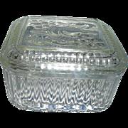 Vintage  Federal Glass Refrigerator  Dish  with Fruit  design on Lid
