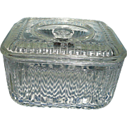 Vintage Federal Pressed Glass Refrigerator Dish with Lid