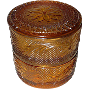Indiana Glass Golden Ambar Double Dish with Lid