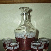 Vintage French   Red/Clear Glass Decanter Set