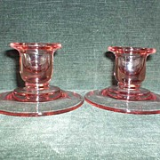 Pink Glass Candle Holders