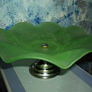 Jobling  Green  Glass Cake Dish Fir Cone Pattern