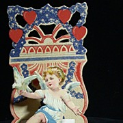 Antique Valentine w/Cherub, Hearts & Dove, 3-D Fold-down