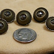 Group of 5 Vintage Buttons, Two-Toned Metal w/Stars